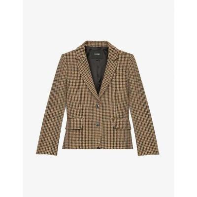 マージュ MAJE レディース スーツ・ジャケット アウター Vland single-breasted wool-blend jacket CAMEL
