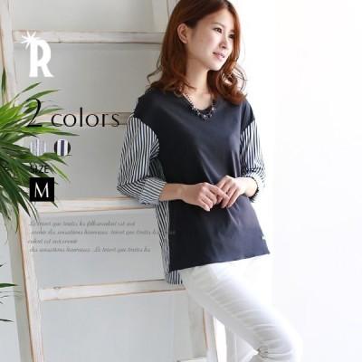 【再値下げ】Buyer's select 日本製バックストライプシャツ切替プルオーバー(435599)★メール便