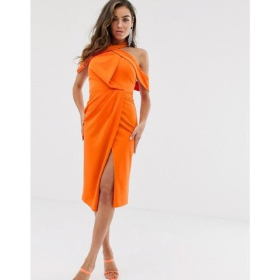 エイソス ASOS DESIGN レディース ボディコンドレス ワンピース・ドレス halter drape bodycon midi dress Orange