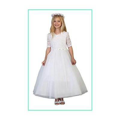 Big Girls' White First Communion Lace Tulle Half Sleeves Flower Girl Pageant Dress USA 3854 Size 12並行輸入品