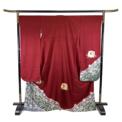 着物 振袖 正絹 袷 赤 シルク 適応身長 154〜164cm レディース jh-6111 中古