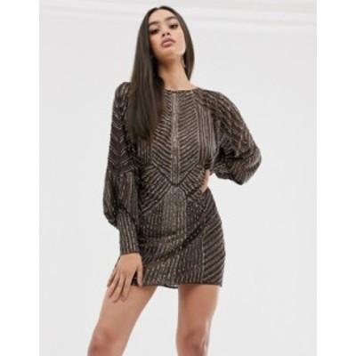 エイソス レディース ワンピース トップス ASOS DESIGN mini dress with blouson sleeve in linear embellishment Brown