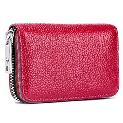 クレジットカードケース 本革 カードケース RFID スキミング防止 メンズ レディース レザー カード入れ 財布 QB09-19051 (赤)
