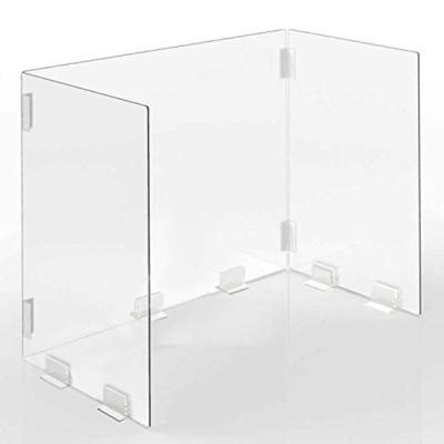 sumunior 透明 パーテーション アクリル板 3面 600×305×400mm 折りたたみ式アクリルバッフル 透明アクリルパーテーショ