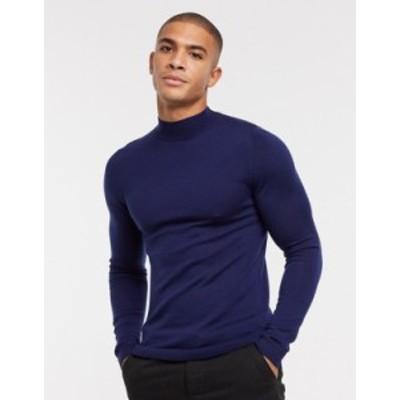 エイソス メンズ ニット・セーター アウター ASOS DESIGN muscle fit merino wool turtleneck sweater in navy Navy