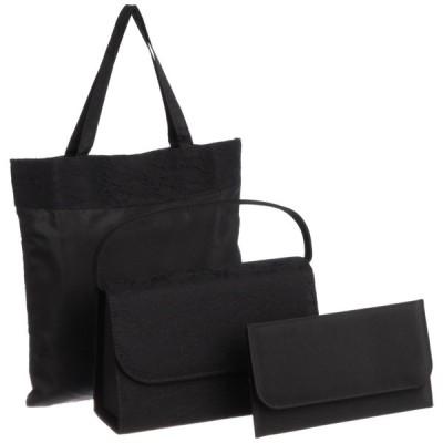 [フェッテ] フォーマルバッグ レースデザイン 3点セット 8001 クロ バッグ:約幅24cm×高さ15cm(持手除く)×マチ8cm、ふくさ:約幅21×高さ12.5cm、手提げ袋:約幅2