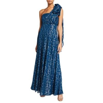 ショシャーナ レディース ワンピース トップス Caprina One-Shoulder Sheer Metallic Clip Dress