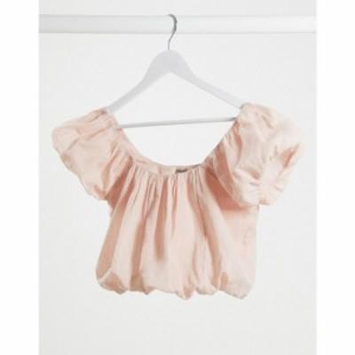 エイソス ASOS DESIGN レディース ブラウス・シャツ トップス textured top with bubble hem in Dusty pink ダスティピンク