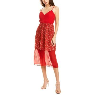 フェームアンドパートナー ワンピース トップス レディース Fame & Partners V-Neck Tiered Dress daisy cherry red