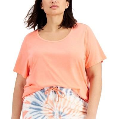 ジェニィ レディース Tシャツ トップス Plus Size Solid Pajama T-Shirt