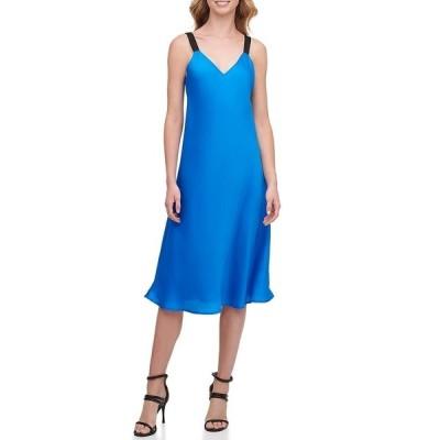 ダナ キャラン ニューヨーク レディース ワンピース トップス Silky Scarf Twill Woven Thick Shoulder Strap V-Neck Camisole Slip Midi Dress Metro Blue