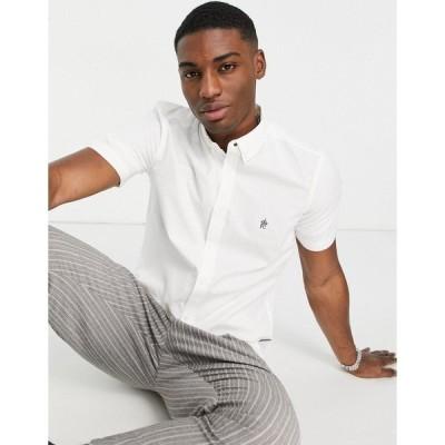 フレンチコネクション メンズ シャツ トップス French Connection short sleeve oxford shirt in white White