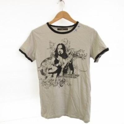 【中古】vanana gold label lag カットソー Tシャツ 半袖 プリント グレー L *E183 メンズ