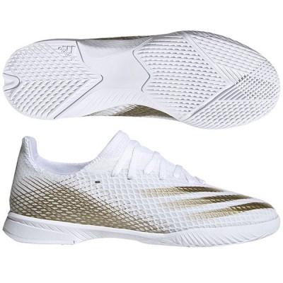ジュニア エックス ゴースト.3 IN J フットウェアホワイト×メタリックゴールドメランジ 【adidas|アディダス】サッカーフットサルジュニアト