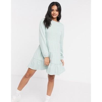 エイソス レディース ワンピース トップス ASOS DESIGN smock mini dress with tiered hem with long sleeves in mint