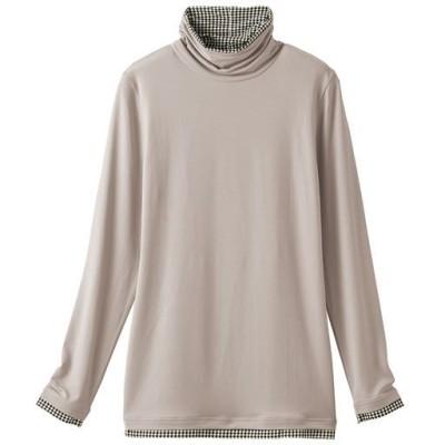 スマートヒート配色使いルーズネックTシャツ(静電気防止・吸湿発熱・吸汗速乾)/グレージュ/LL