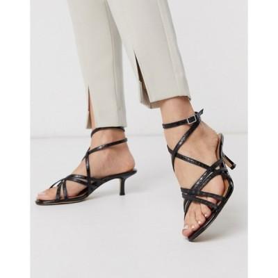 フー ワット ウェアー レディース サンダル シューズ Who What Wear Pamela strappy toe loop ankle fastening sandals in black