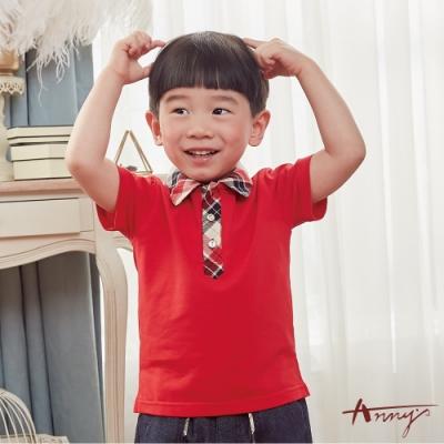 Annys安妮公主-學院格紋領拼接春夏款男短袖上衣*8364紅色