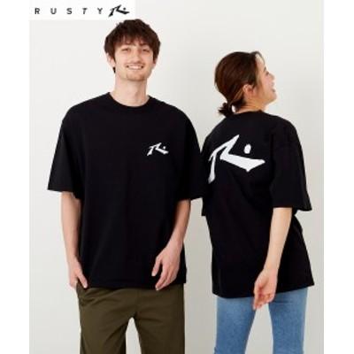 スポーツウェア トップス メンズ RUSTY オーガニック コットン Tシャツ 男女兼用 ブラック/ホワイト LL/3L/4L/5L ニッセン nissen