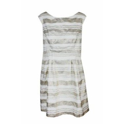 Gold ゴールド ファッション ドレス Vince Camuto Ivory Gold Metallic Striped Jacquard Fit & Flare Dress 14