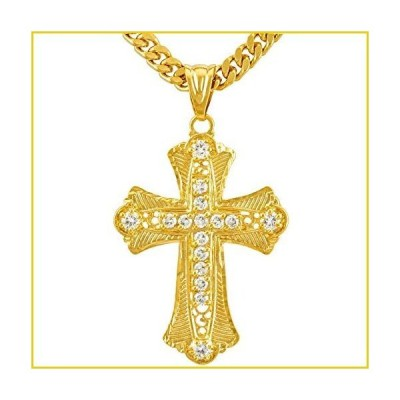 Lifetime Jewelry Large CZ Cross ネックレス for Men & Women 24k Real ゴールド Plated (Ornate Cross)