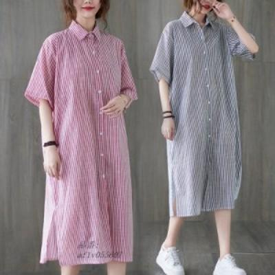 夏 新 品 レディース 大きいサイズ 綿麻 オシャレ ワンピース 半袖 ゆったり 着痩せ シャツ