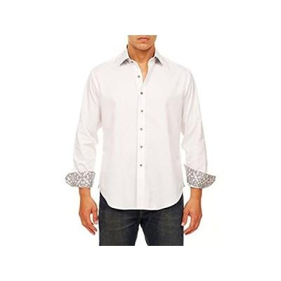 Robert Graham Men's Windsor Classic FIT Long Sleeve Shirt, White, 2XLARGE