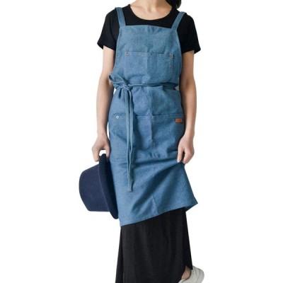 FungLam シンプルデニムエプロン カフェ風 男女兼用(ブルー, 大人用)
