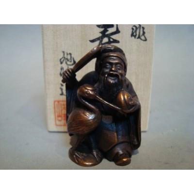 新品 唐銅 銅製 七福神 置物 珍品 ミニ 小置物  寿老人