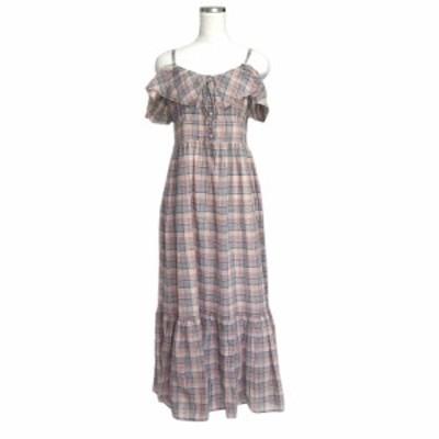 美品 ADAM ET ROPE' for AUTHENTIC CLOTHES アダム エ ロペ タータンチェックロングワンピース 118851 【中古】