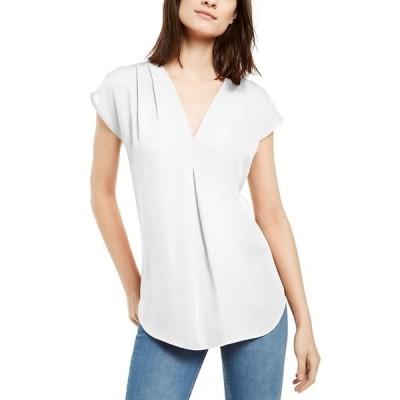 アイエヌシーインターナショナルコンセプト カットソー トップス レディース INC Inverted-Pleat V-Neck Top, Created for Macy's Washed White