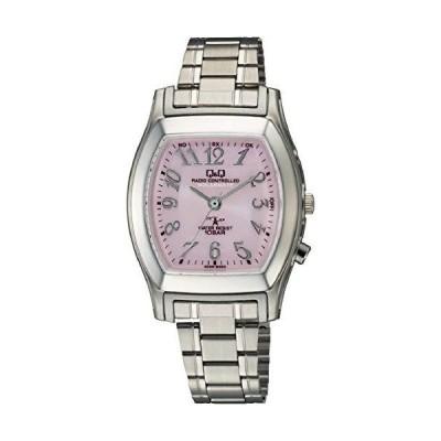 [シチズン Q&Q] 腕時計 アナログ 電波 ソーラー 防水 メタルバンド ピンク HJ05-205 レディース シルバー
