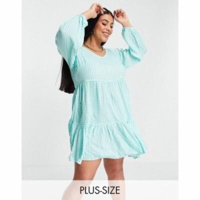 ユアーズ Yours レディース ワンピース ミニ丈 ワンピース・ドレス Exclusive Peplum Mini Dress In Mint and White Check マルチカラー