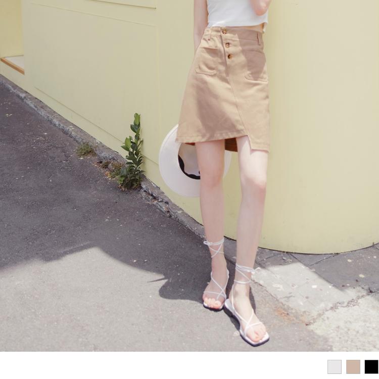 高含棉排釦鬆緊不對稱斜紋短裙