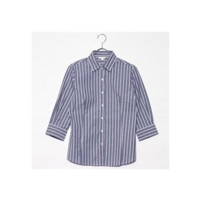 ベルーナ BELLUNA 美シルエットベーシックシャツ 7分袖 (ネイビーストライプ)