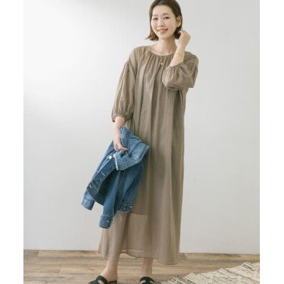 URBAN RESEARCH ROSSO/アーバンリサーチ ロッソ F by ROSSO 2WAYギャザーシアーワンピース KHAKI FREE