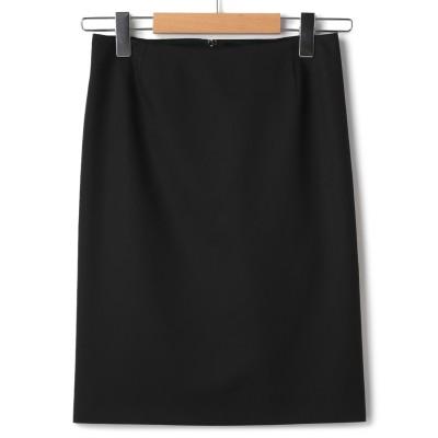 【就活おすすめ】洗えるストレッチ 黒無地タイトスカート セットアップ着用可