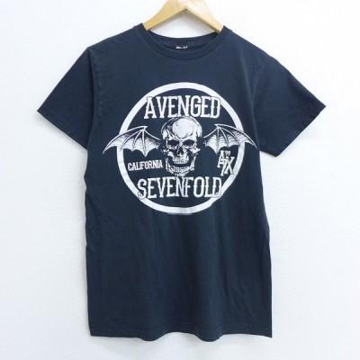 S/古着 半袖 ロック バンド Tシャツ アヴェンジドセヴンフォールド アベンジドセブンフォール クルーネック 黒 ブラック 20jul21 中古 メンズ
