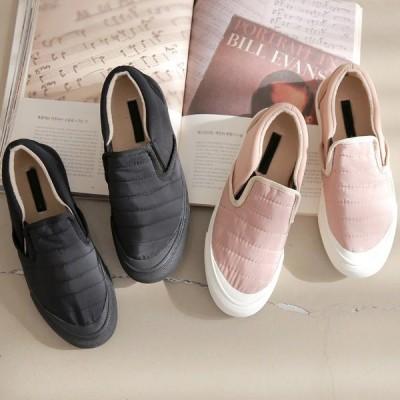 スリッポン レディース キルティング スニーカー 婦人靴 シューズ 安い シンプル ブラック ピンク 黒