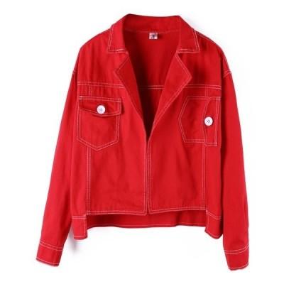 Gジャンジージャンジャケットレディス服女性トップスアウターコート長袖ボタンデニムカジュアルベーシックポケットファッション流行