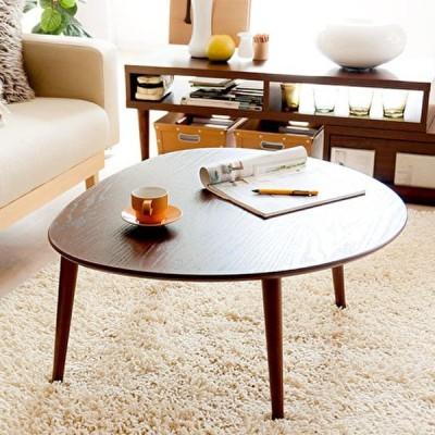 ローテーブル おむすび型 ちゃぶ台 リビングテーブル 木目 レトロ センターテーブル 座卓 かわいい おしゃれ