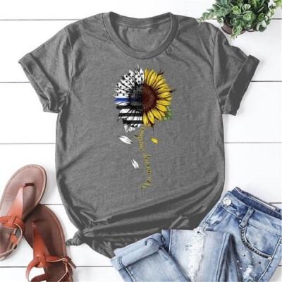 レディース 衣類 トップス Sunflower Print T Shirts Summer Women Fashion T-shirt Graphic Tee Sunflower T Shirt Tシャツ