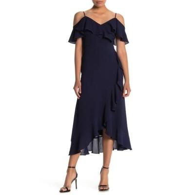 ロンドンタイムス レディース ワンピース トップス Cold Shoulder Ruffle Maxi Dress (Petite) NAVY