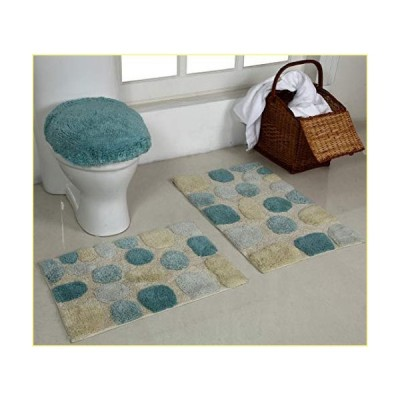 Better Trends River Rock Collection is Ultra Soft, Plush and Absorbent Tufted Bath Mat Rug 100 Percent Cotton in Vibrant Colors, 3pc Set, Aq