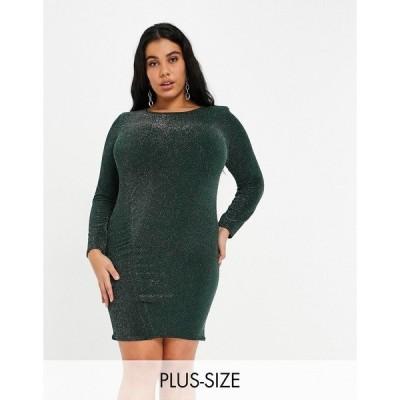 ファッションキラー プラス レディース ワンピース  Emerald green