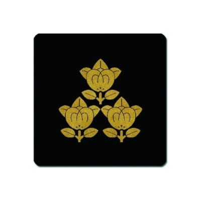 家紋シール 金紋黒地 三つ盛り橘 10cm x 10cm KS10-1445