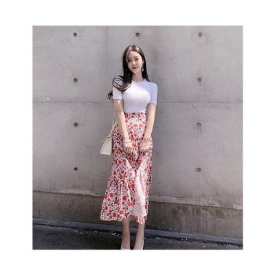 デイジー柄スカート レディース トレンド 人気 可愛い 夏 おしゃれ デイジー柄 花柄 L103-0136