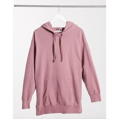 エイソス レディース パーカー・スウェットシャツ アウター ASOS DESIGN oversized panelled hoodie in washed pink Pink
