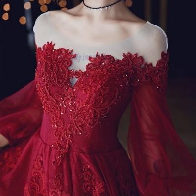 パーティードレス ワンピース ウェディングドレス 結婚式 成人式 パーティー 可愛い秋冬 パフスリーブ 花嫁ロングドレス お呼ばれ 二次会 演奏会