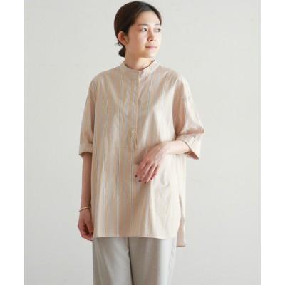 シャツ ブラウス 100/2カラーストライプ スタンドネックシャツ